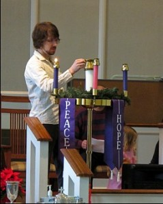 Lighting the Advent candle at Erwin First