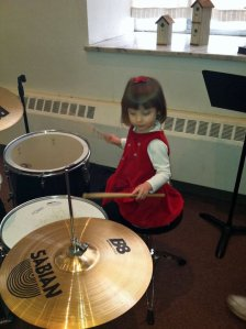 Little drummer girl at Erwin First